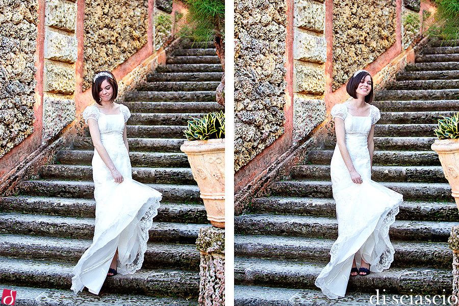 Bridal photography of Natalie De Diego in Miami, FL, Bridals at Vizcaya from Lisette and Alessandro Di Sciascio of Di Sciascio Photography, South Florida wedding photography from Fort Lauderdale wedding photographers. (4)